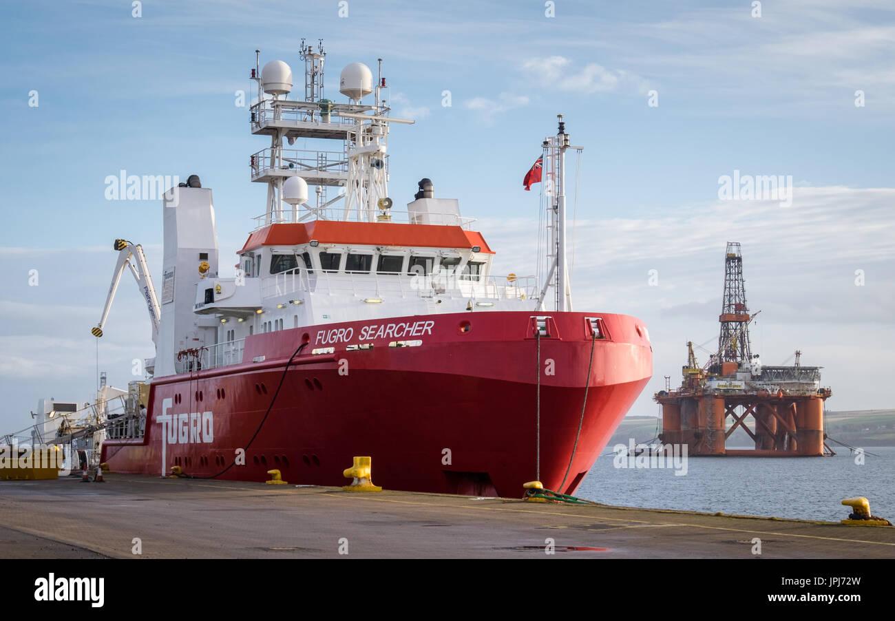 Survey vessel, Fugro Searcher, alongside in Invergordon, Scotland - Stock Image