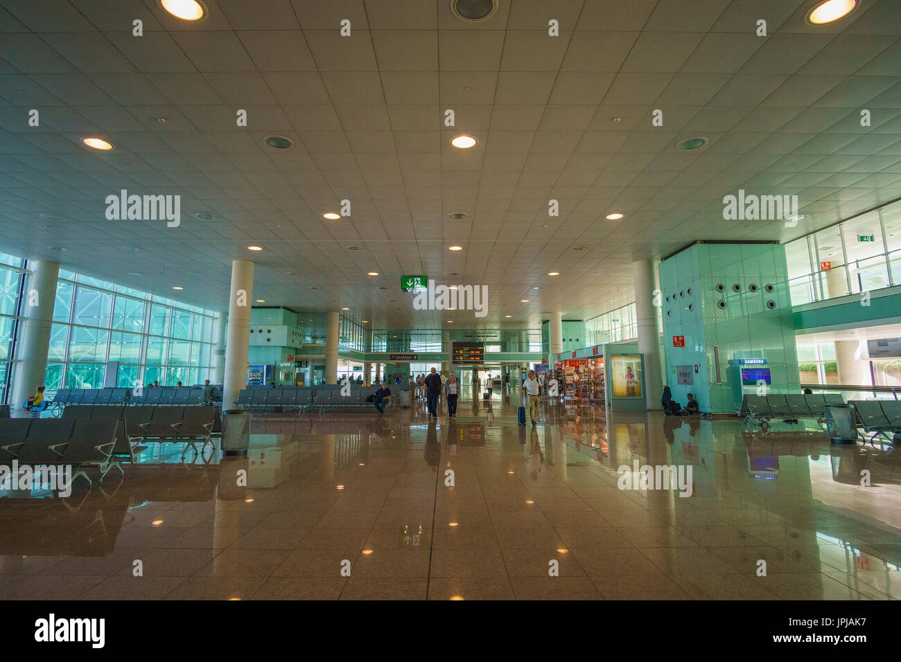 Barcelona El Prat Airport BCN. It is the main airport of Catalonia, the second largest and second busiest in Spain and the seventh busiest in Europe. - Stock Image