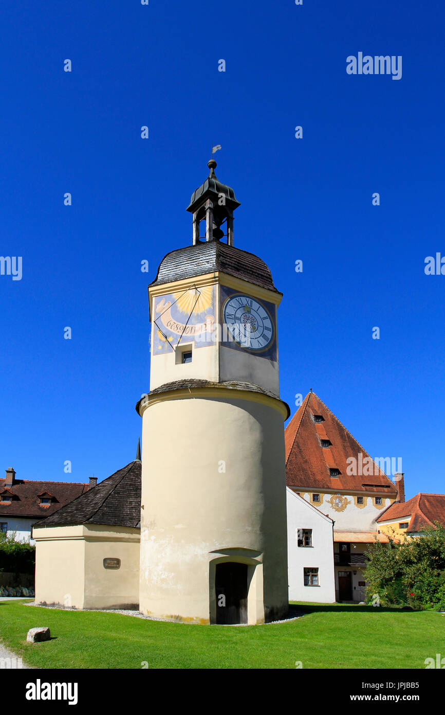 Clock Tower at the 6th castle yard, Burghausen Castle, Upper Bavaria, Bavaria, Germany, Europe - Stock Image