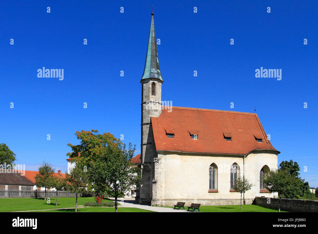 Castle Chapel at the Burg zu Burghausen Castle, Burghausen, Upper Bavaria, Bavaria, Germany, Europe - Stock Image