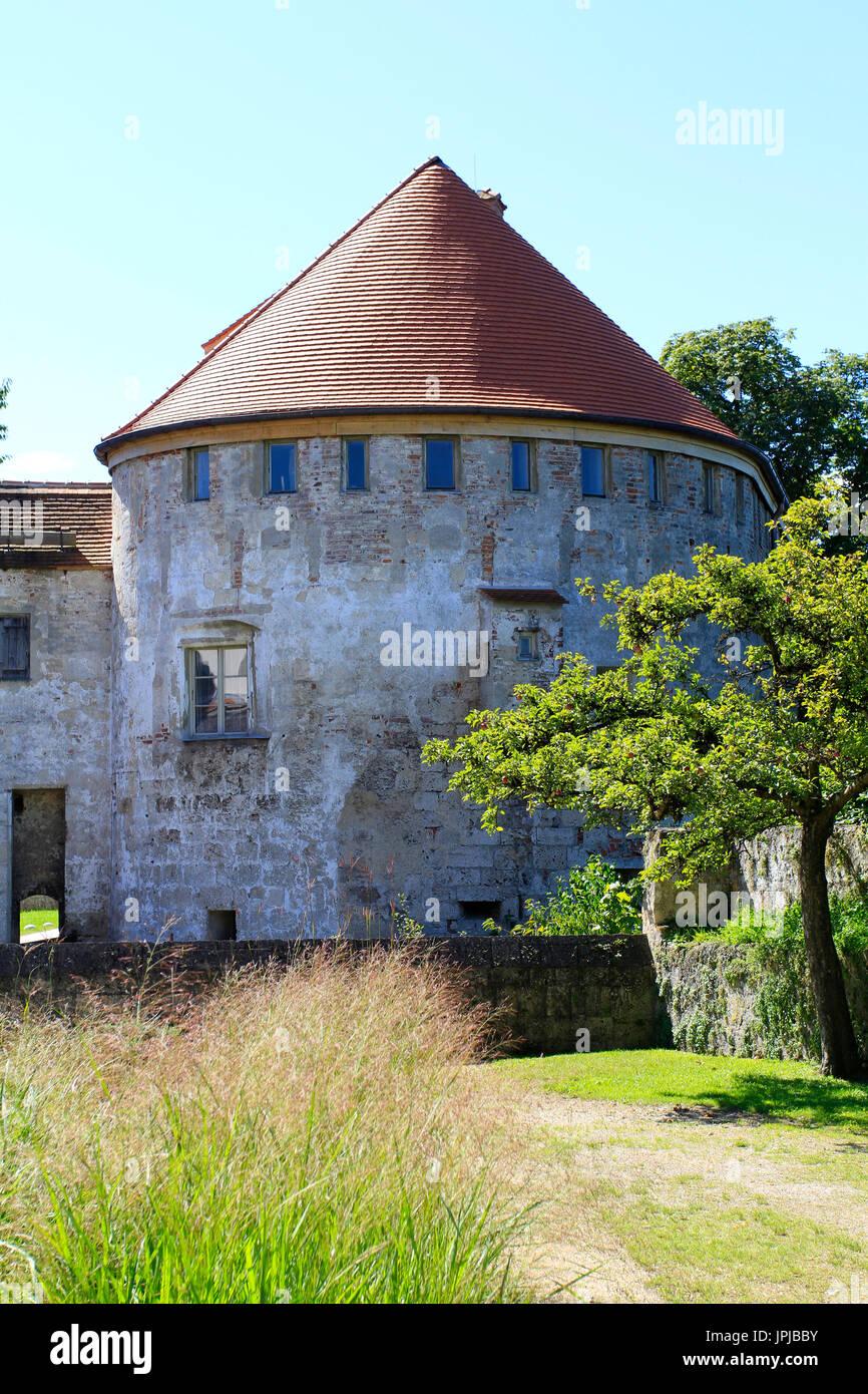 Part of the castle complex, Burg zu Burghausen Castle, Burghausen, Upper Bavaria, Bavaria, Germany, Europe Stock Photo