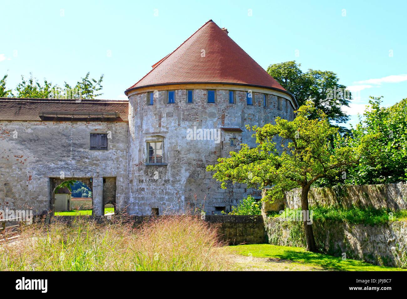 Part of the castle complex, Burg zu Burghausen Castle, Burghausen, Upper Bavaria, Bavaria, Germany, Europe - Stock Image