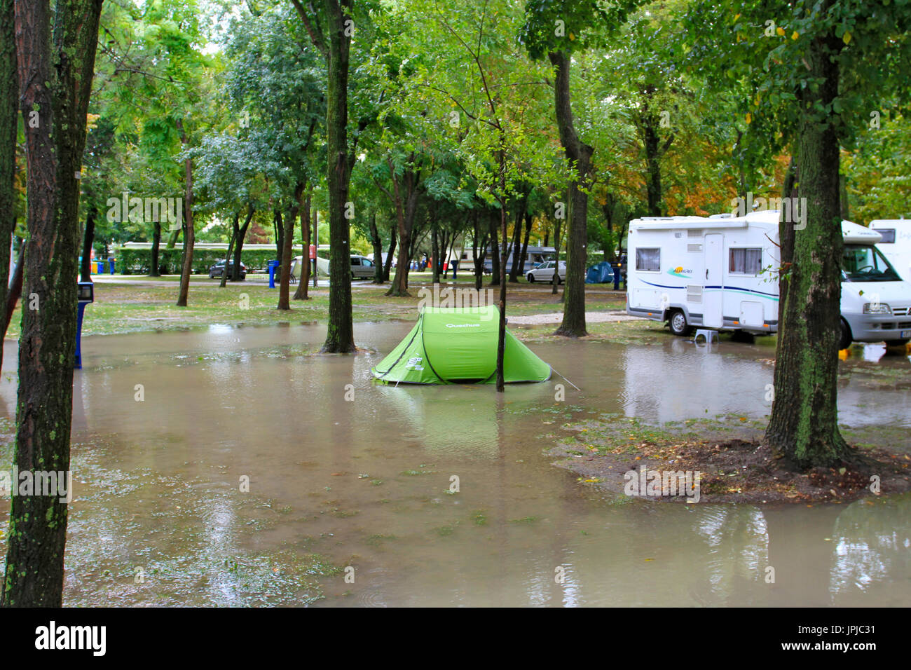 Flood, Flooded campground near Venice, after a thunderstorm, Venice, Italy, Europe - Stock Image