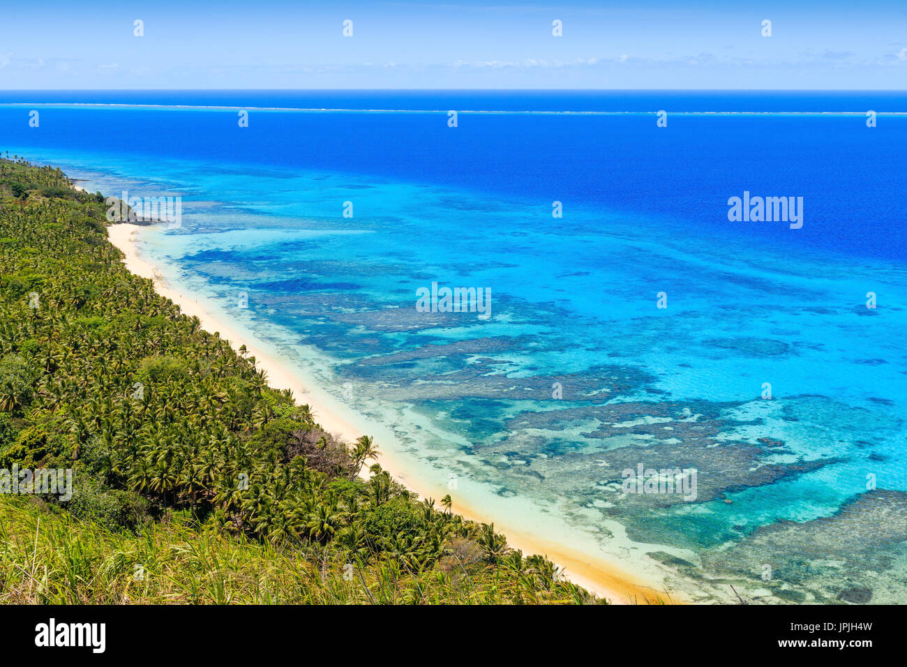 Dravuni Island, Fiji. Panoramic view of the island and beach in the South Pacific ocean. - Stock Image