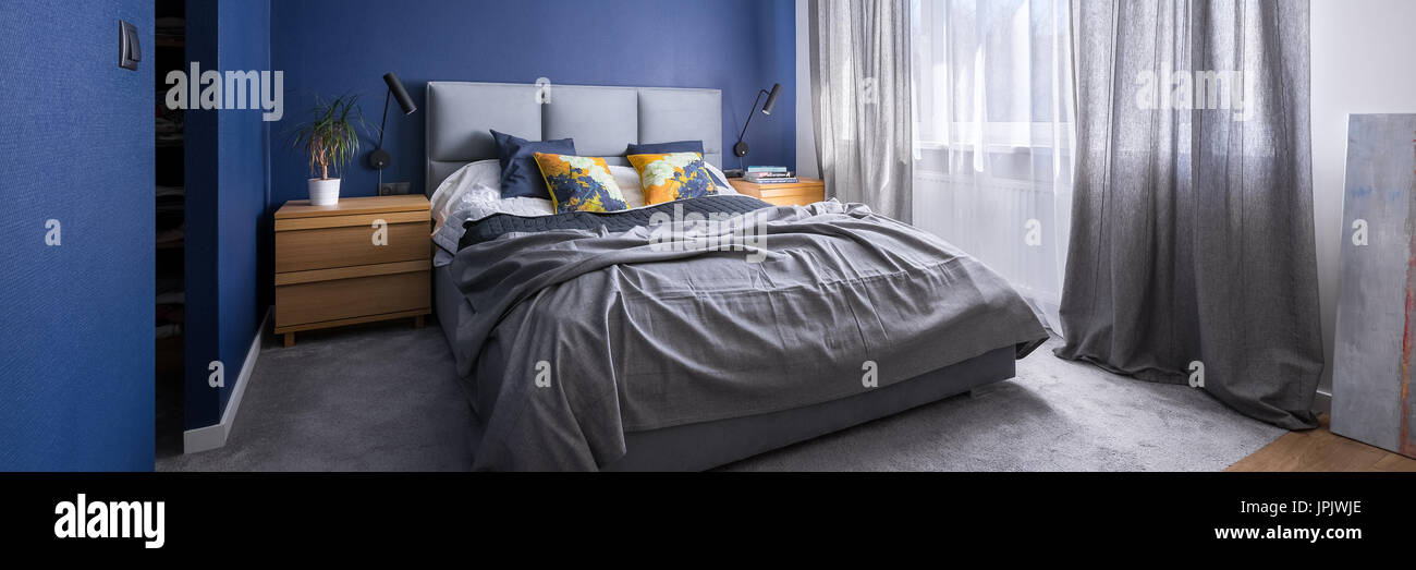 Modern Cobalt Blue Bedroom With Double Bed Gray Bedding Carpet And Stock Photo Alamy