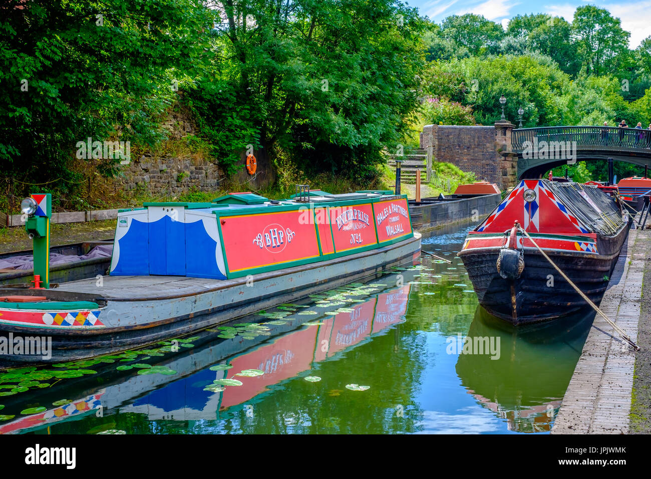 Canal Boats at Black Country Living Museum - Stock Image