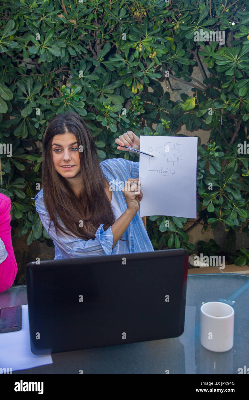 Young enterprising woman shows the other co-workers an outline on a white folio. She is explaining to them the project. - Stock Image