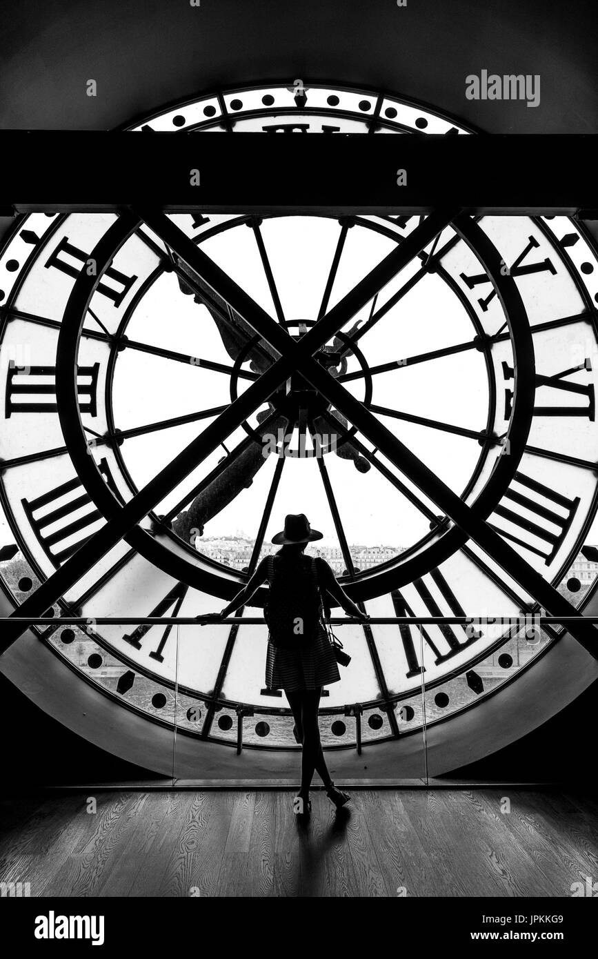Image of a traveller at Musee D'Orsay - Stock Image