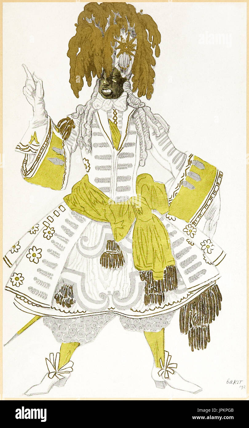 Black guard costume design from 'The Designs of Léon Bakst for The Sleeping Princess' a collection of Léon Bakst's (1866-1924) designs for Sergei Diaghilev's (1872-1929) 1921 London Staging of 'Sleeping Beauty' a ballet based after Charles Perrault's (1628-1703) fairy tale featuring the music of Tchaikovsky (1840-1893). See description below for more information. - Stock Image