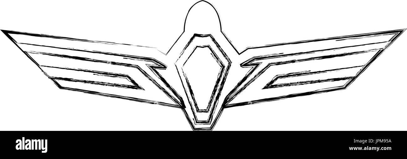 aviation emblem badge military and civil aviation icon - Stock Image