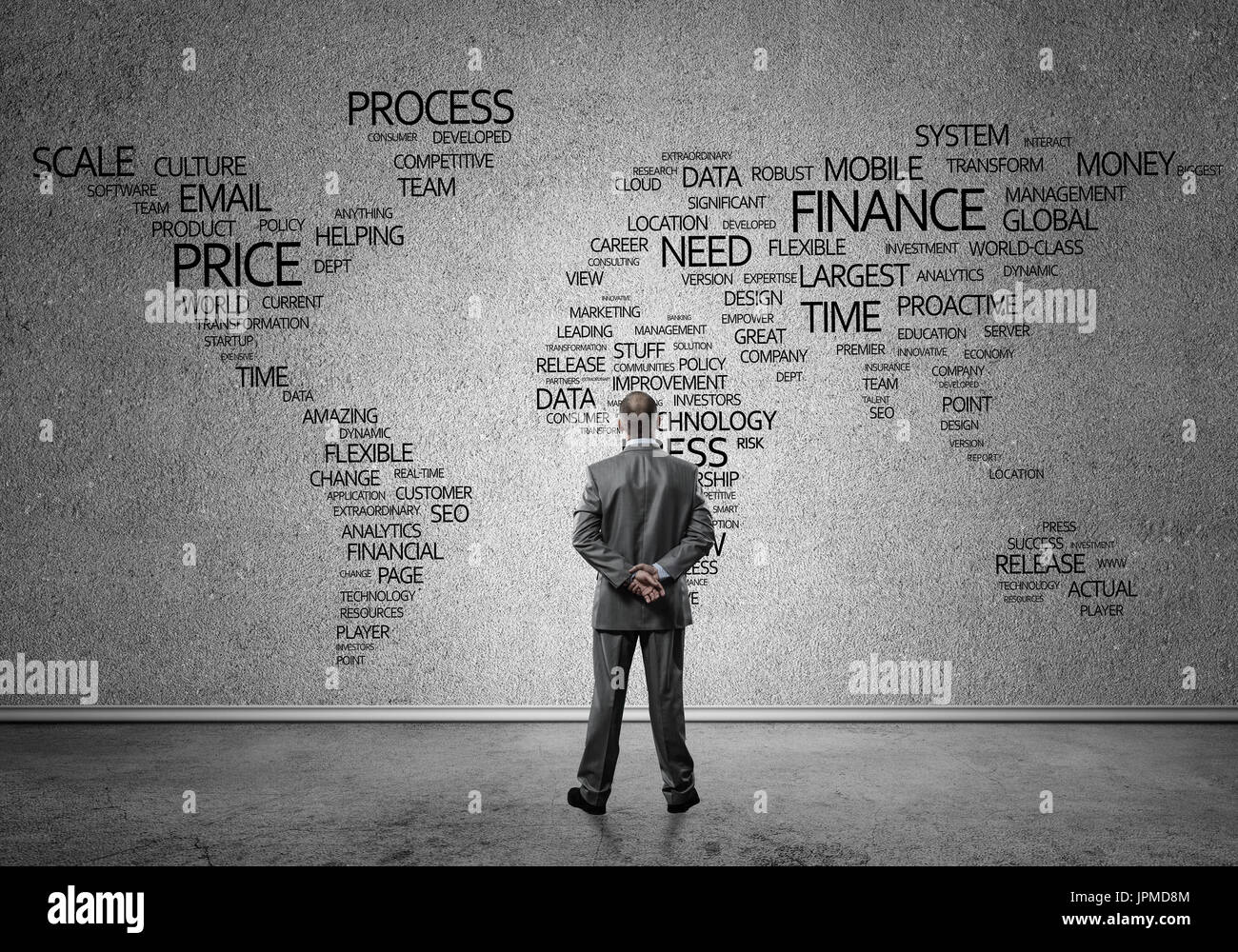 Concept of globalization and networking with business map of bus - Stock Image