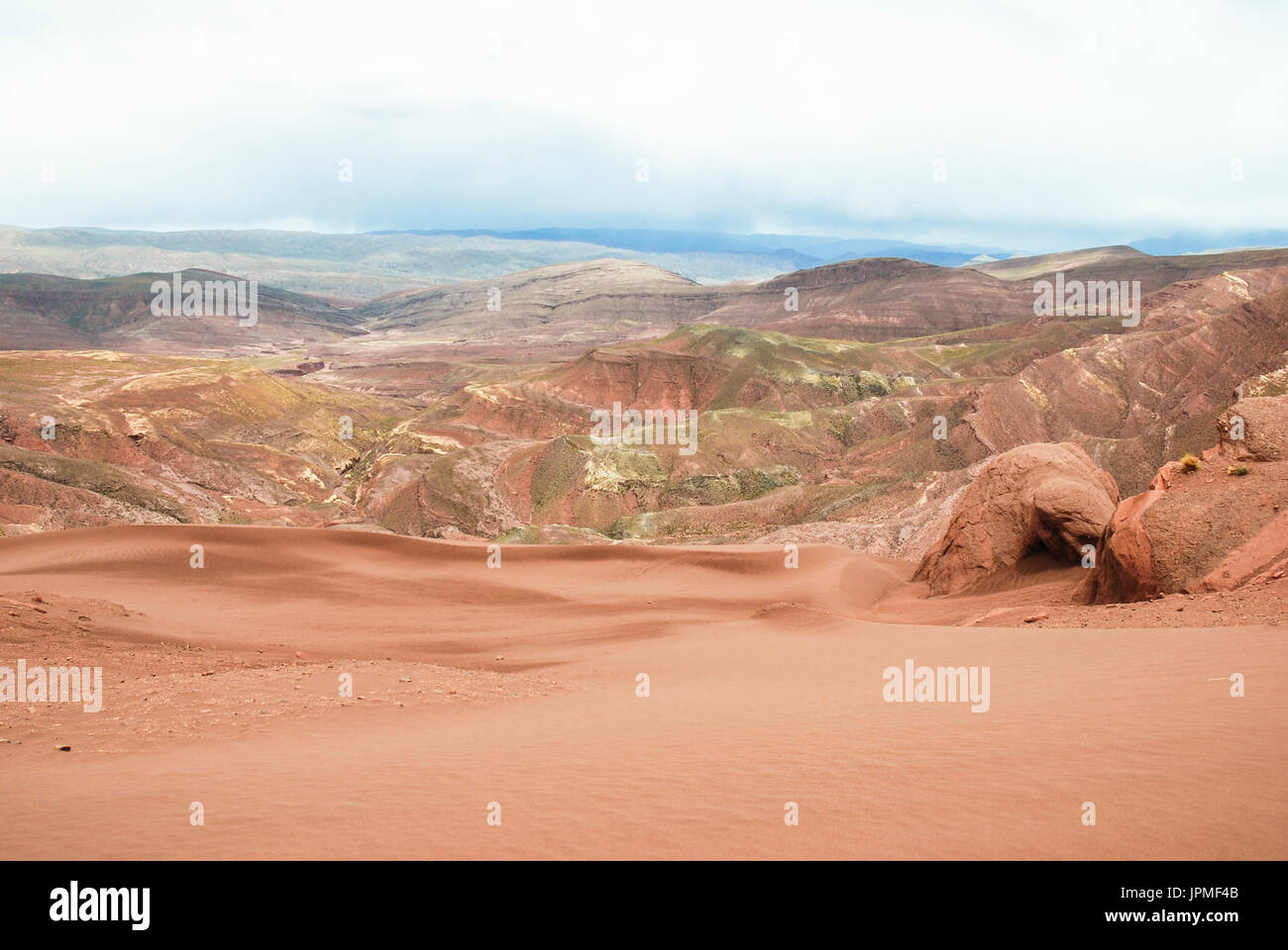 Colored mountains and sand dunes in Tupiza, Uyuni salt flats tour. Potosi, Bolivia, South America - Stock Image