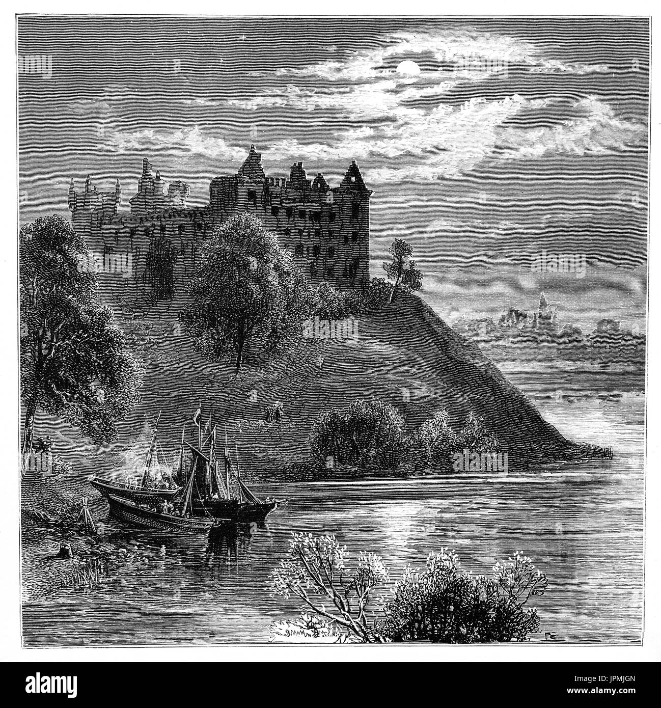 1870: Sailing boats drawn up on a promontory in Linlithgow Loch below Linlithgow Palace or castle. It was one of Stock Photo
