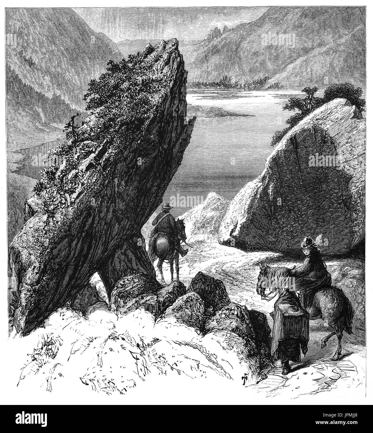 1870: The Gap of Dunloe (from Irish: Dún Lóich, meaning 'Lóich's stronghold', otherwise known as Bearna an Choimín meaning 'gap of the common-land') is a narrow mountain pass. Located between MacGillycuddy's Reeks (west) and Purple Mountain  in Killarney National Park in the Ring of Kerry, , County Kerry, Ireland. - Stock Image