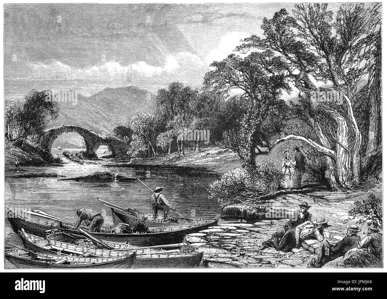 1870: Boatmen near the Old Weir Bridge believed to date back to the sixteenth century  at the spot known as the 'Meeting of the Waters', where the three Killarney lakes meet. The waters from the Upper Lake flow into the Middle (or Muckross Lake) and Lough Leane.  Killarney National Park, County Kerry, Ireland. - Stock Image