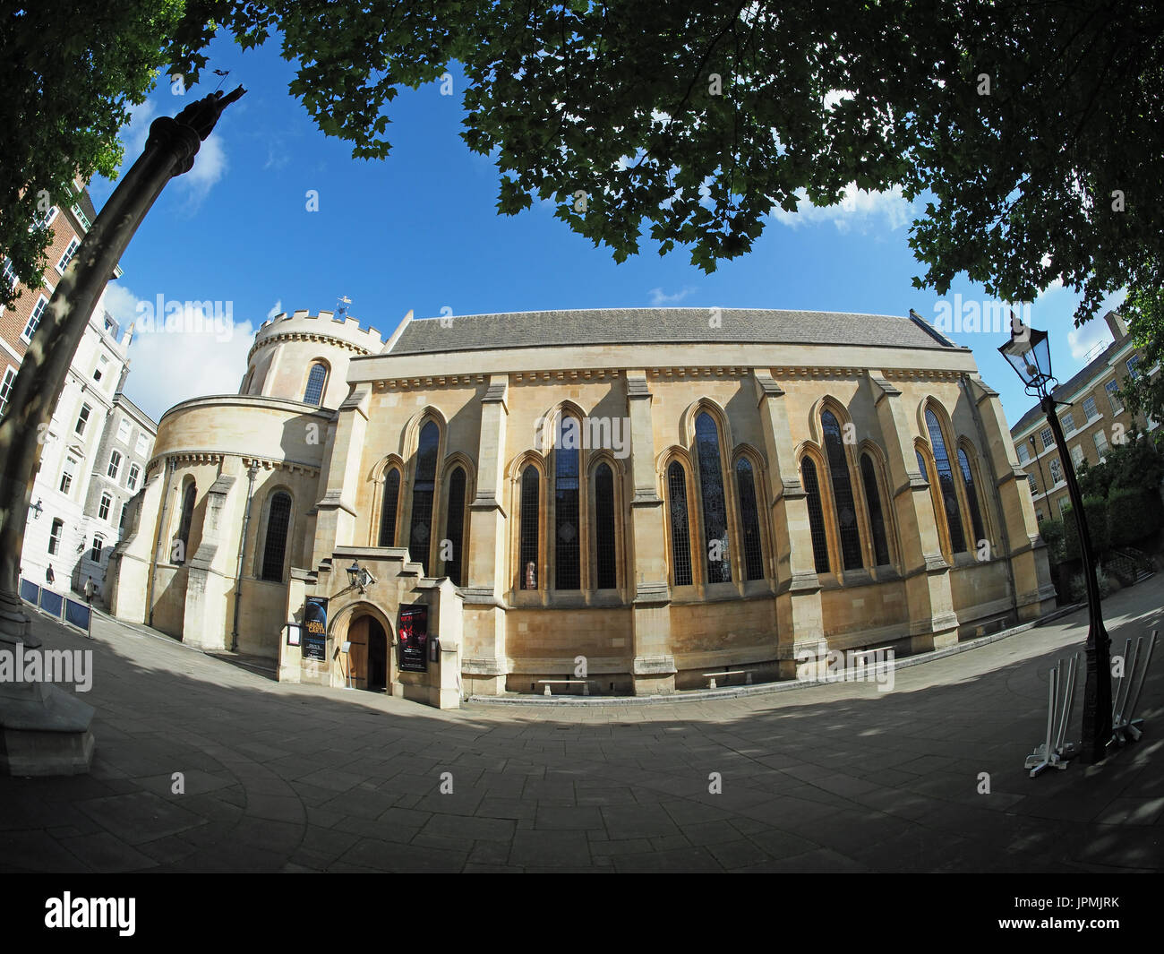 Extreme wide angle fisheye view of Temple Church London - Stock Image