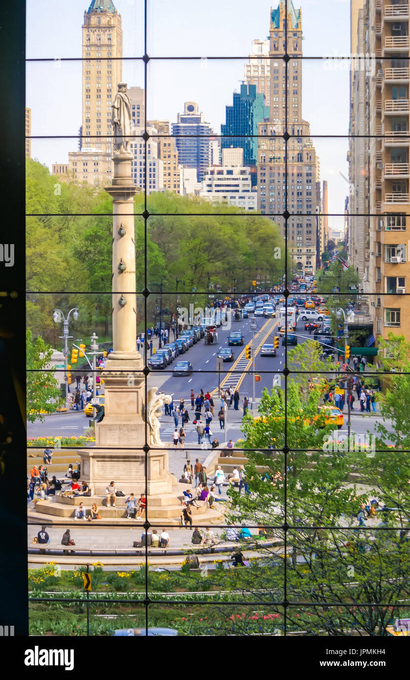 A view of Columbus Circle from the Time Warner Building Stock Photo