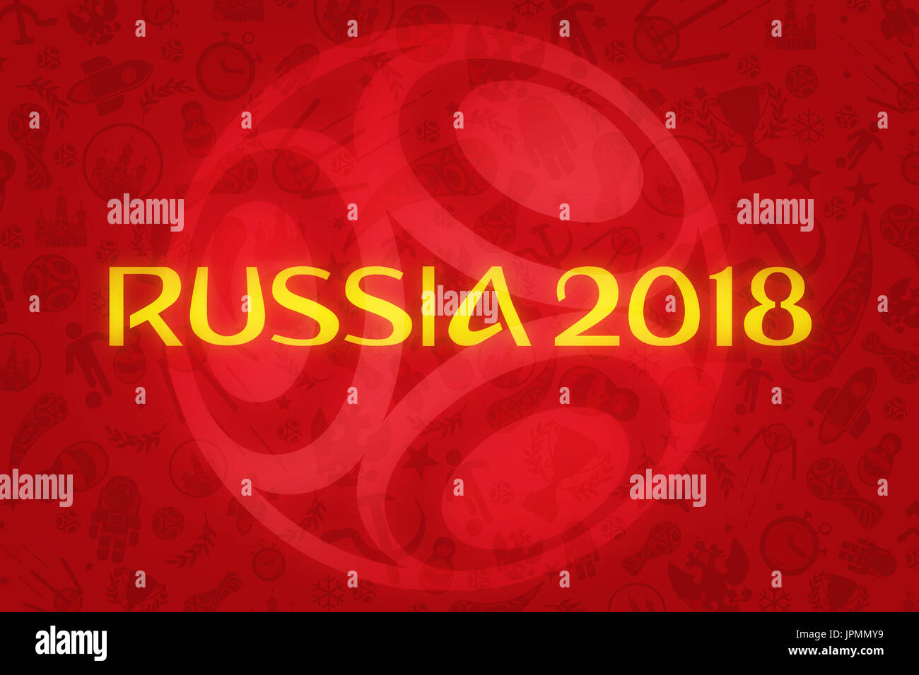 World Cup Football 2018 Wallpaper - World Soccer Tournament in Russia - Stock Image