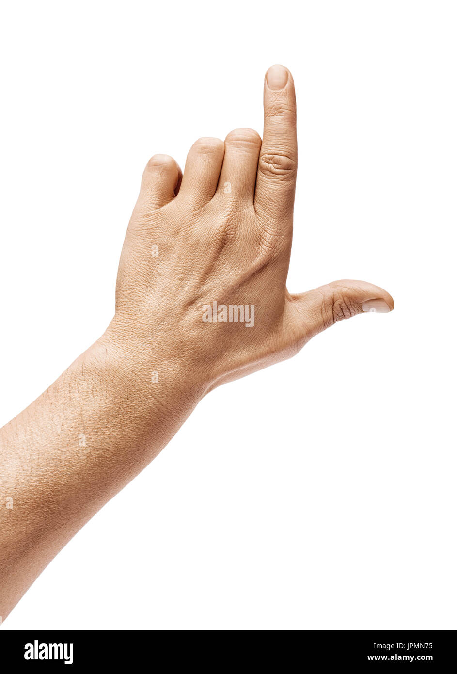 Man's hand pointing to something isolated on white background. Close up. High resolution. - Stock Image