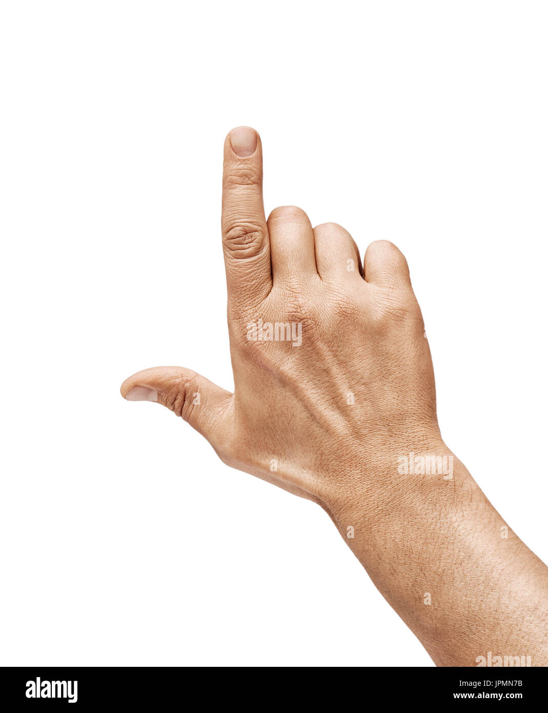 Man's hand touching or pointing to something isolated on white background. Close up. High resolution. - Stock Image