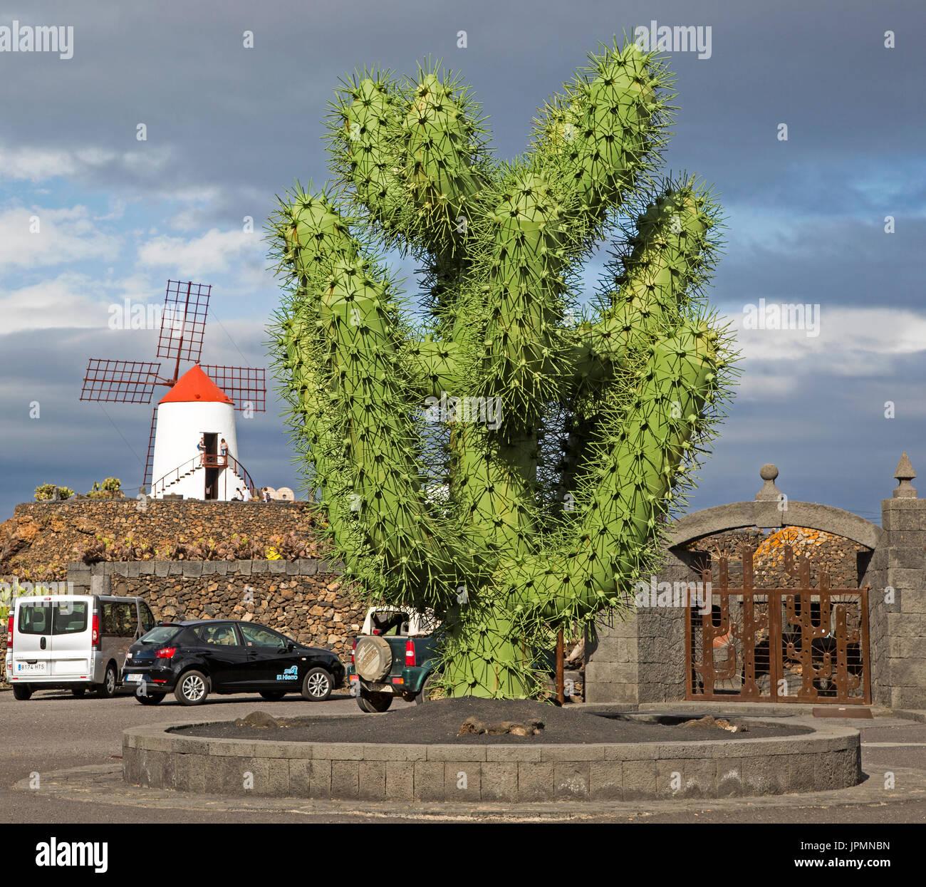 Giant Green Cactus Sculpture Outside Jardin De Cactus Cesar Stock