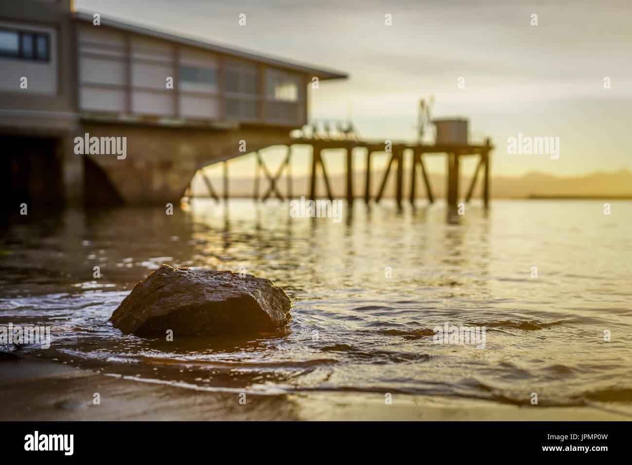 A golden evening at Port Nelson, Nelson, New Zealand Stock Photo