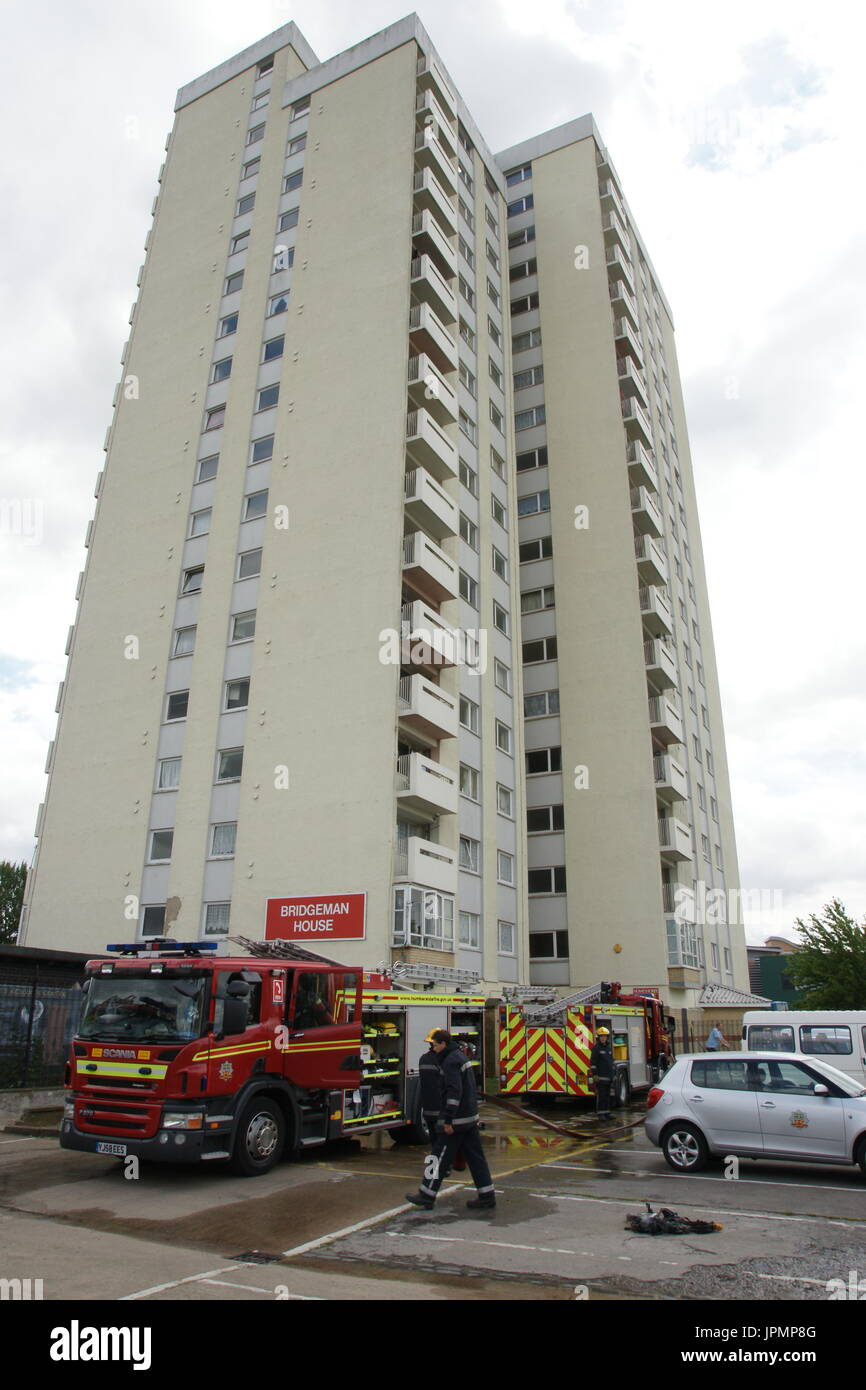 fire in High rise tower block, social housing flats, building fire - Stock Image
