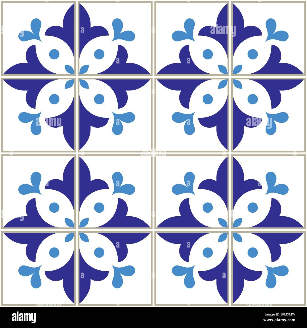 Azulejos tiles pattern - Portuguese navy blue design, seamless vector blue background, vintage mosaics set - Stock Vector