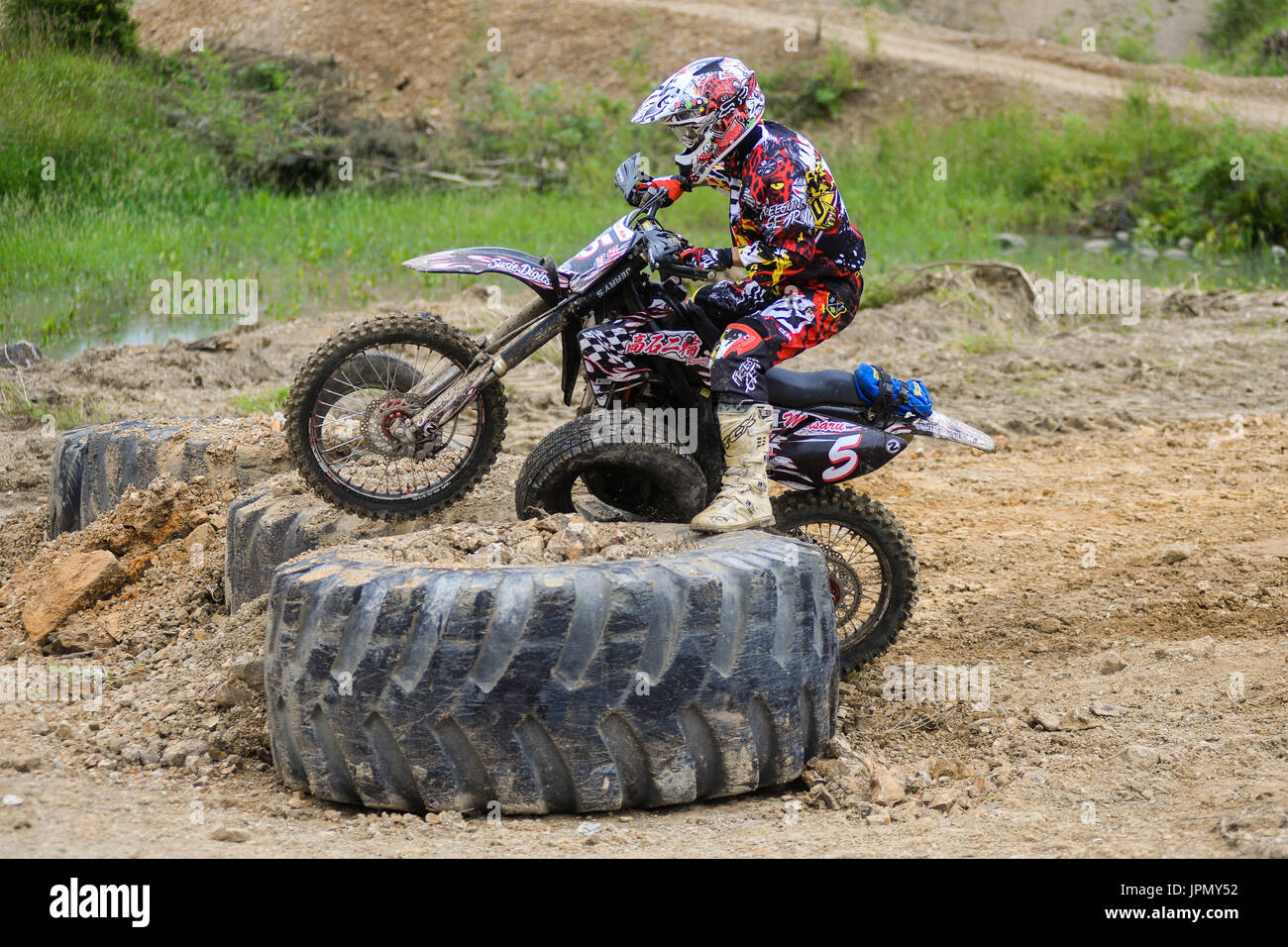 competitions hard Enduro  no place to run  Stock Photo