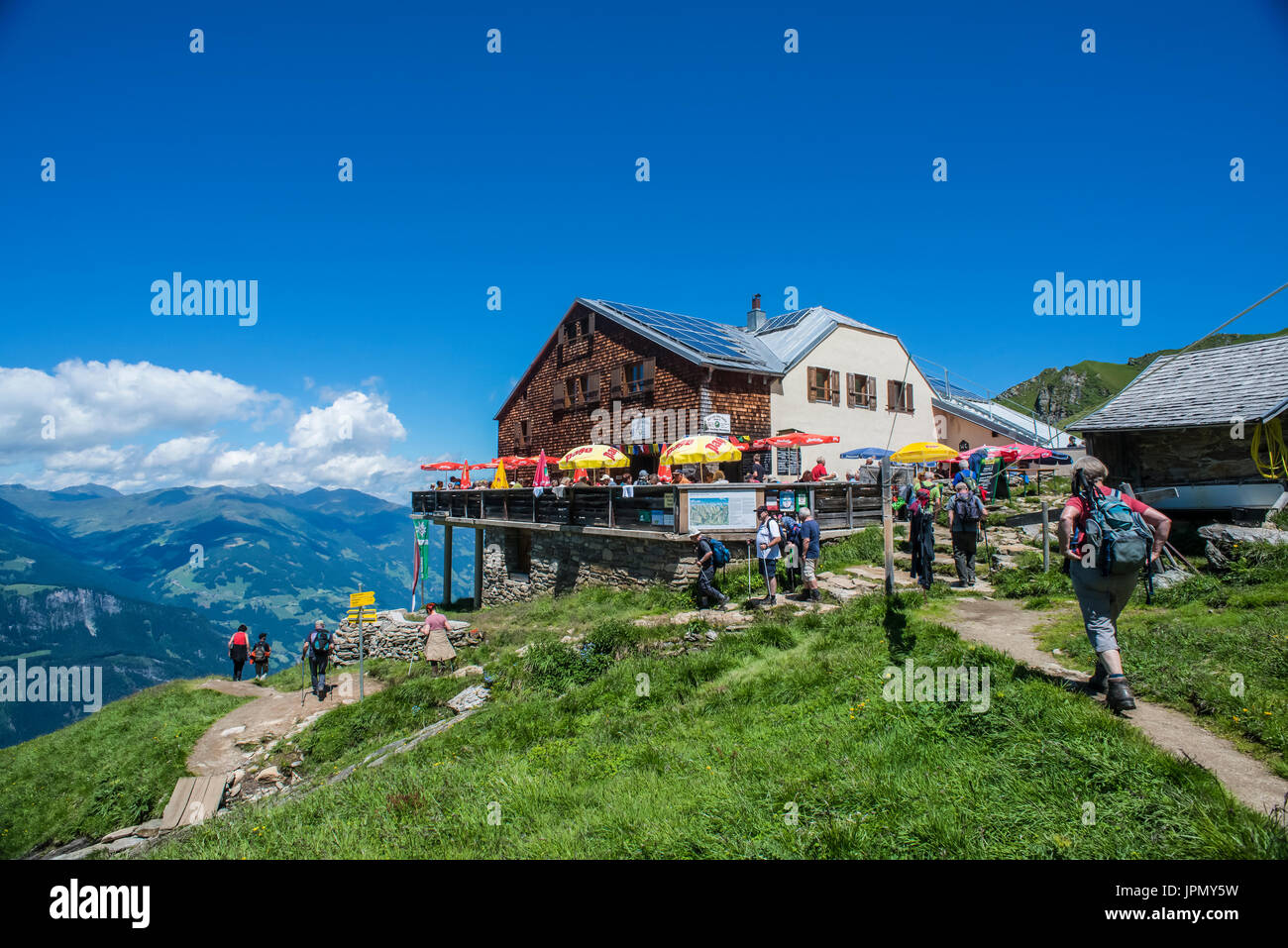 The Edel Hut mountain refuge above the resort town of Mayrhofen in the Zillertal Alps Stock Photo