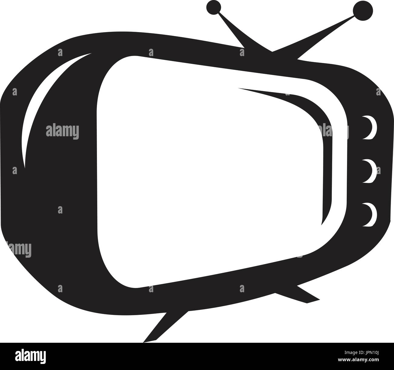 old TV icon, isolated on white background Stock Vector Art