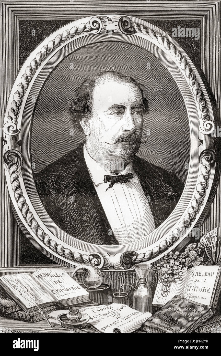 Louis Figuier, 1819 –  1894.  French scientist and writer.  From Les Merveilles de la Science, published 1870. Stock Photo