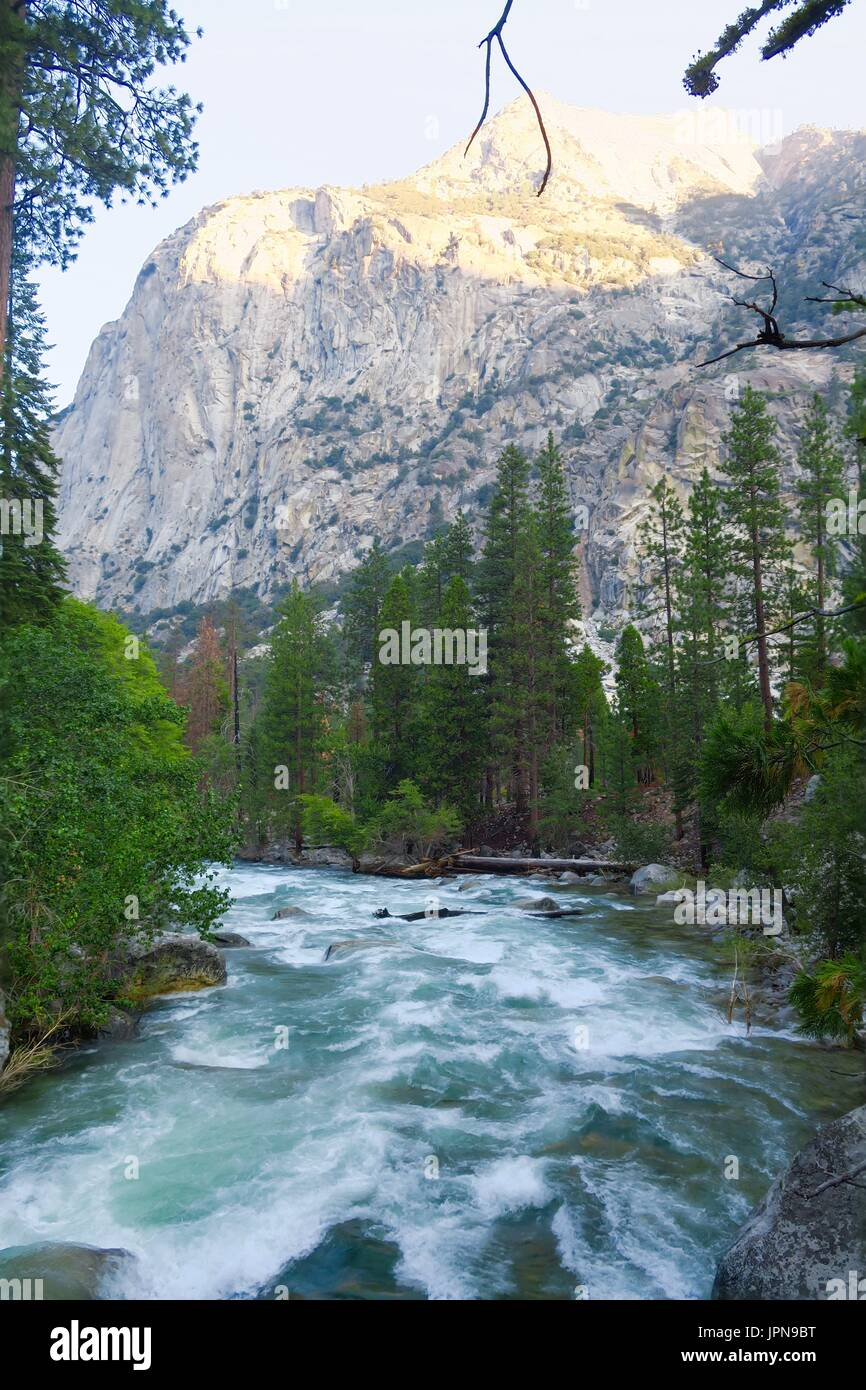 Granite dome above King's River, King's Canyon National Park, California, United States Stock Photo