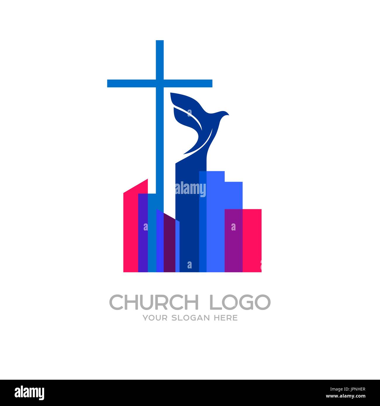 Church logo christian symbols the cross of jesus and the dove over church logo christian symbols the cross of jesus and the dove over the city altavistaventures Images