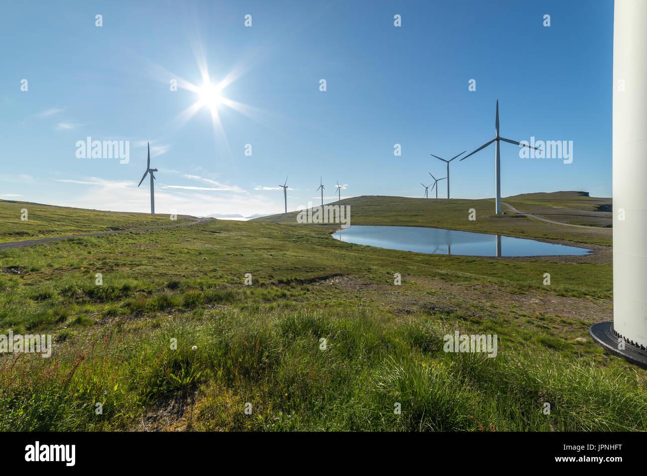 windmills sun sunshine Finnmark Norway Norge - Stock Image