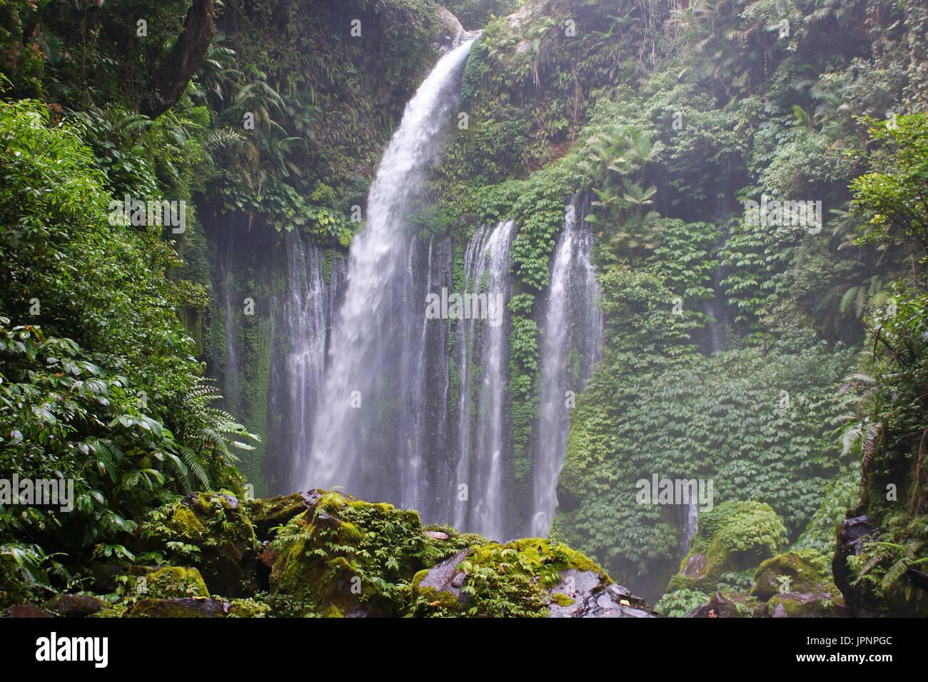 Tiu Kelep Waterfall, Lombok Island, Indonesia - Stock Image