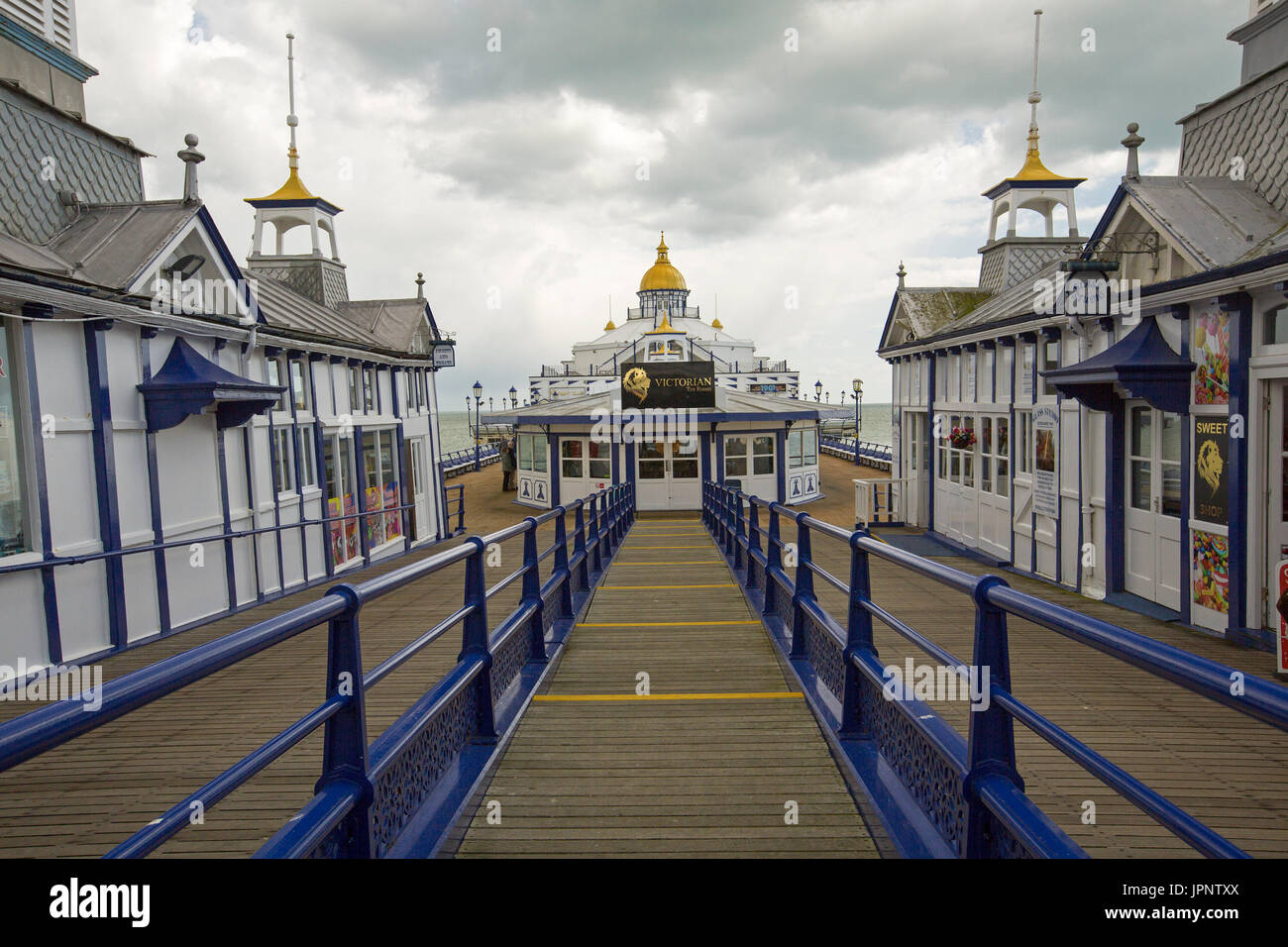 Historic Victorian pier at Eastbourne, England - Stock Image