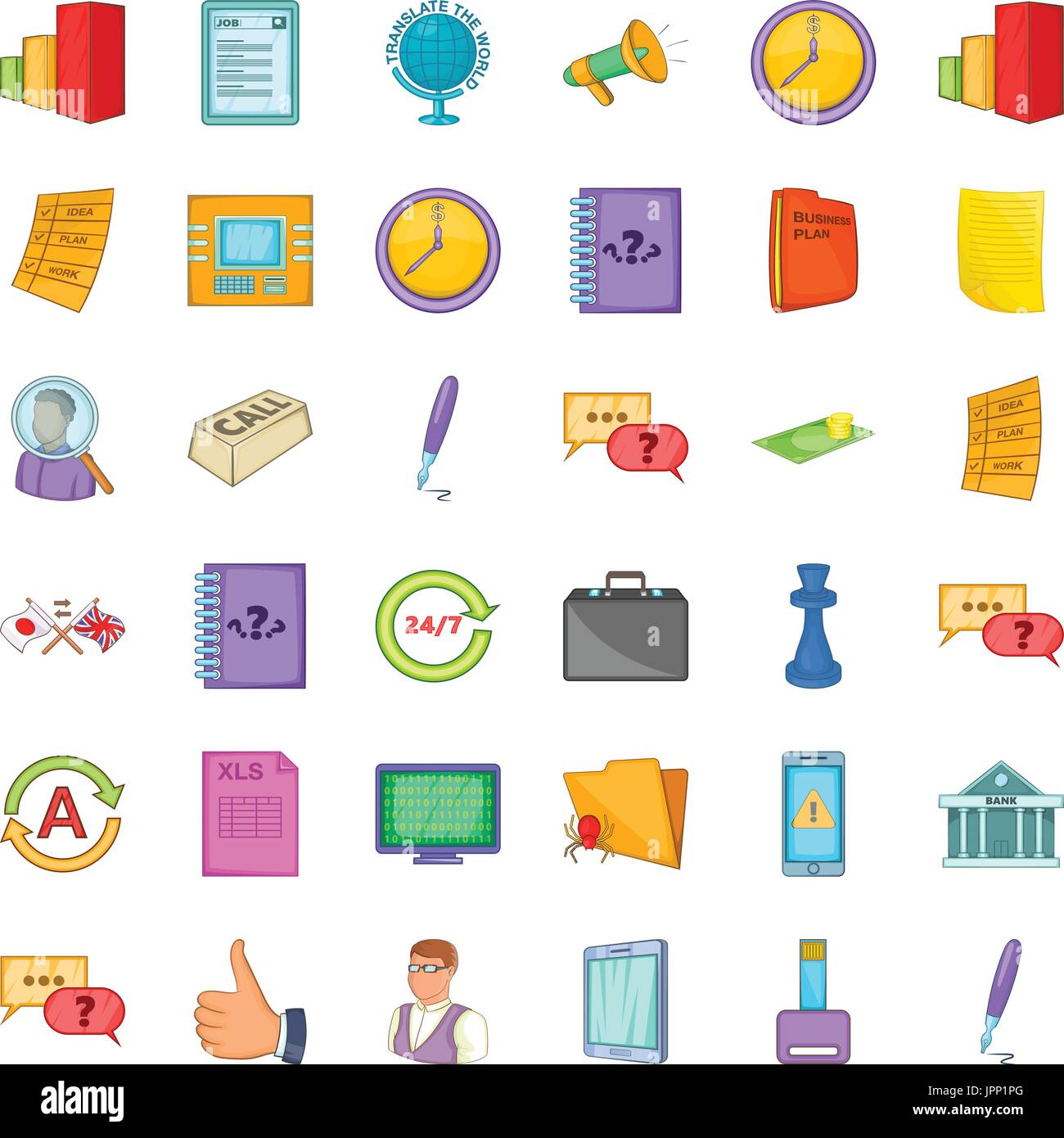Time for business icons set, cartoon style - Stock Vector