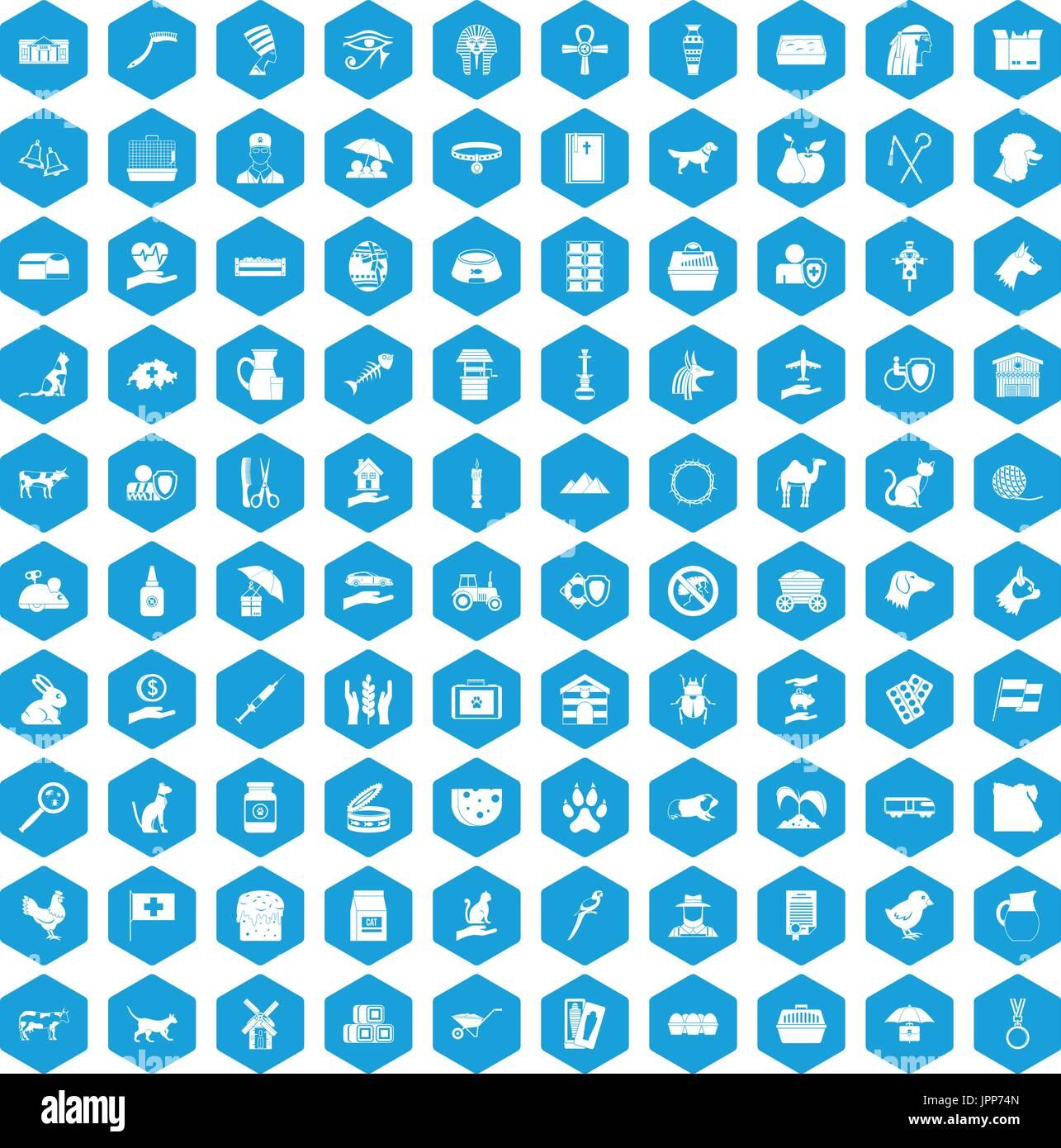 100 pets icons set blue - Stock Image