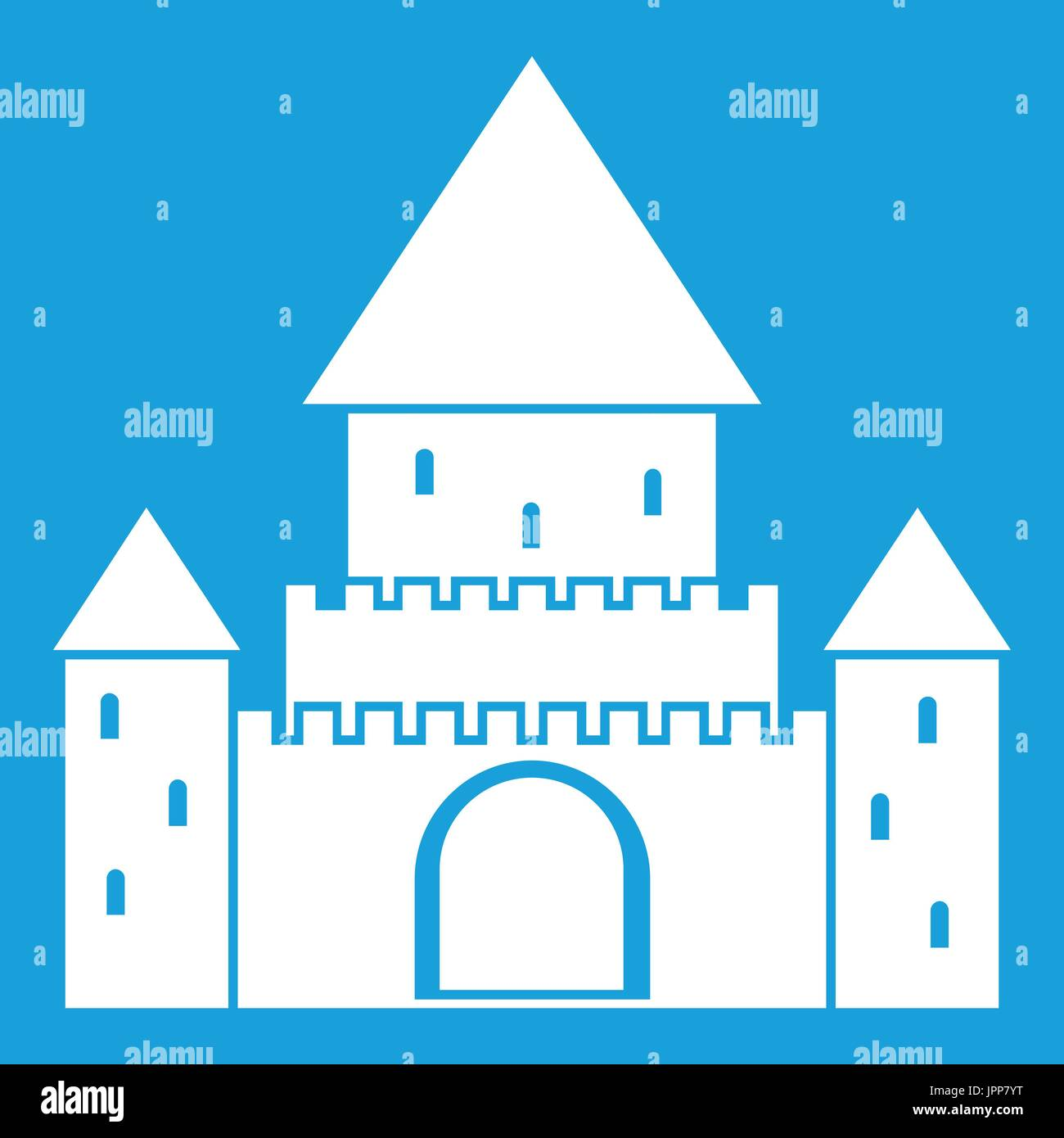 Chillon Castle, Switzerland icon white - Stock Vector