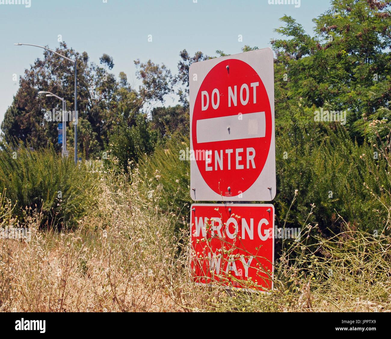 wrong way, do not enter. Traffic sign, symbol, California - Stock Image