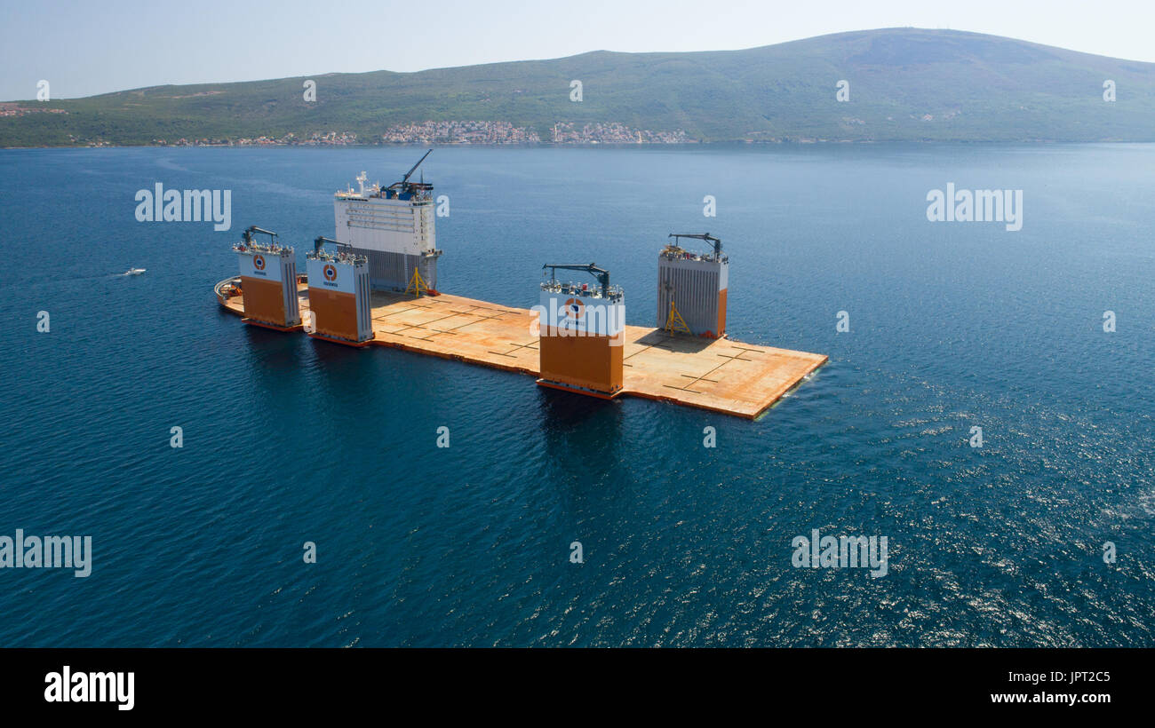 Tivat, Montenegro - 31 July 2017: Heavy lift vessel Dockwise Vanguard came to Montenegro to take the floating dock - Stock Image