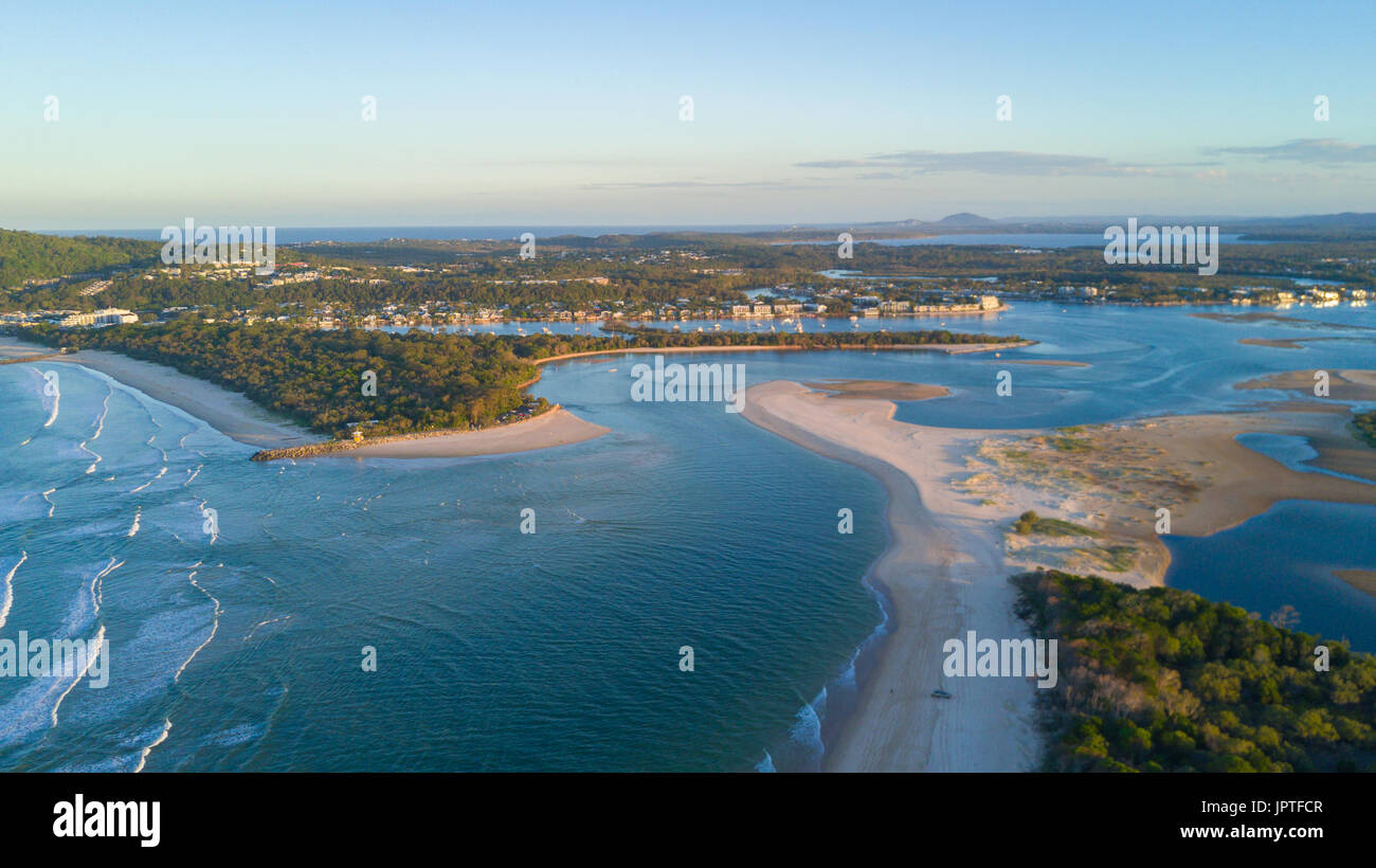 Drone photograph of the coastline of Noosa Heads, Queensland Australia - Stock Image