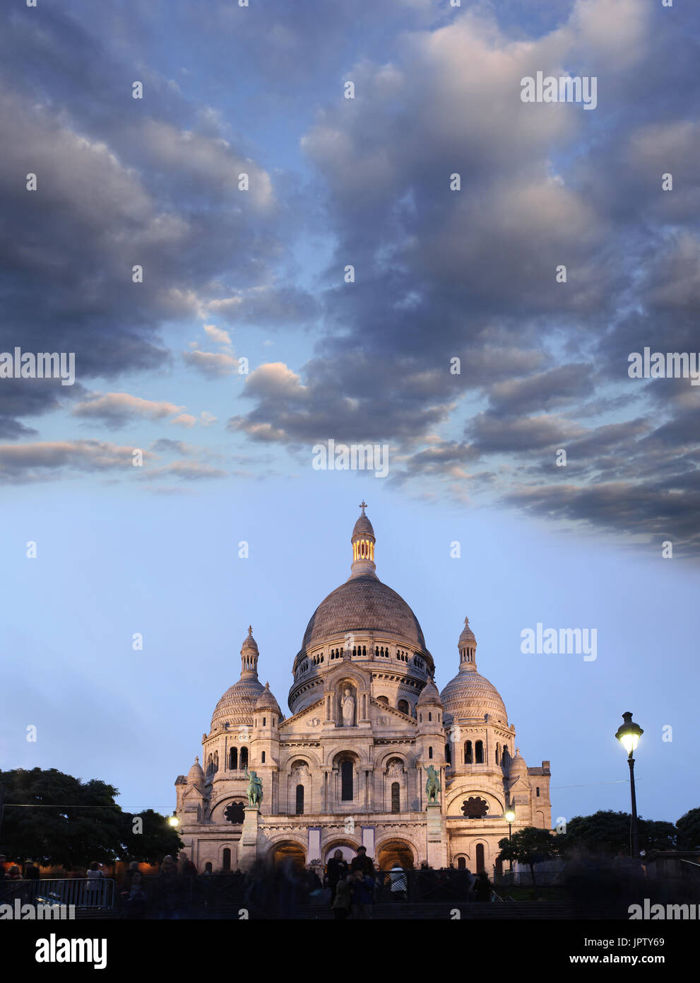 Paris with Basilica of the Sacre Coeur in France - Stock Image