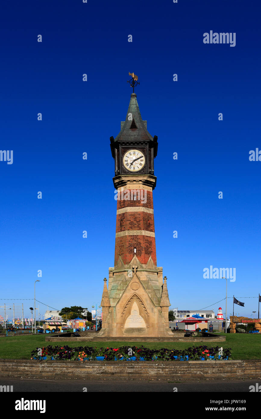 The Diamond Jubilee Clock Tower, Skegness town, Lincolnshire, England, UK - Stock Image