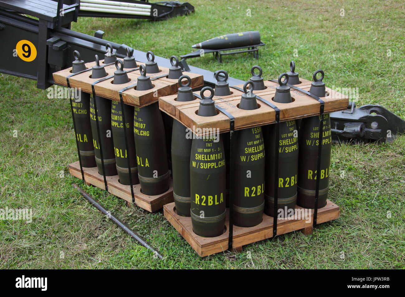 At the War and Peace show at Beltring in Kent a dispaly of 155mm High explosive Howitzer ammunition in a pallet for easy transportation. - Stock Image