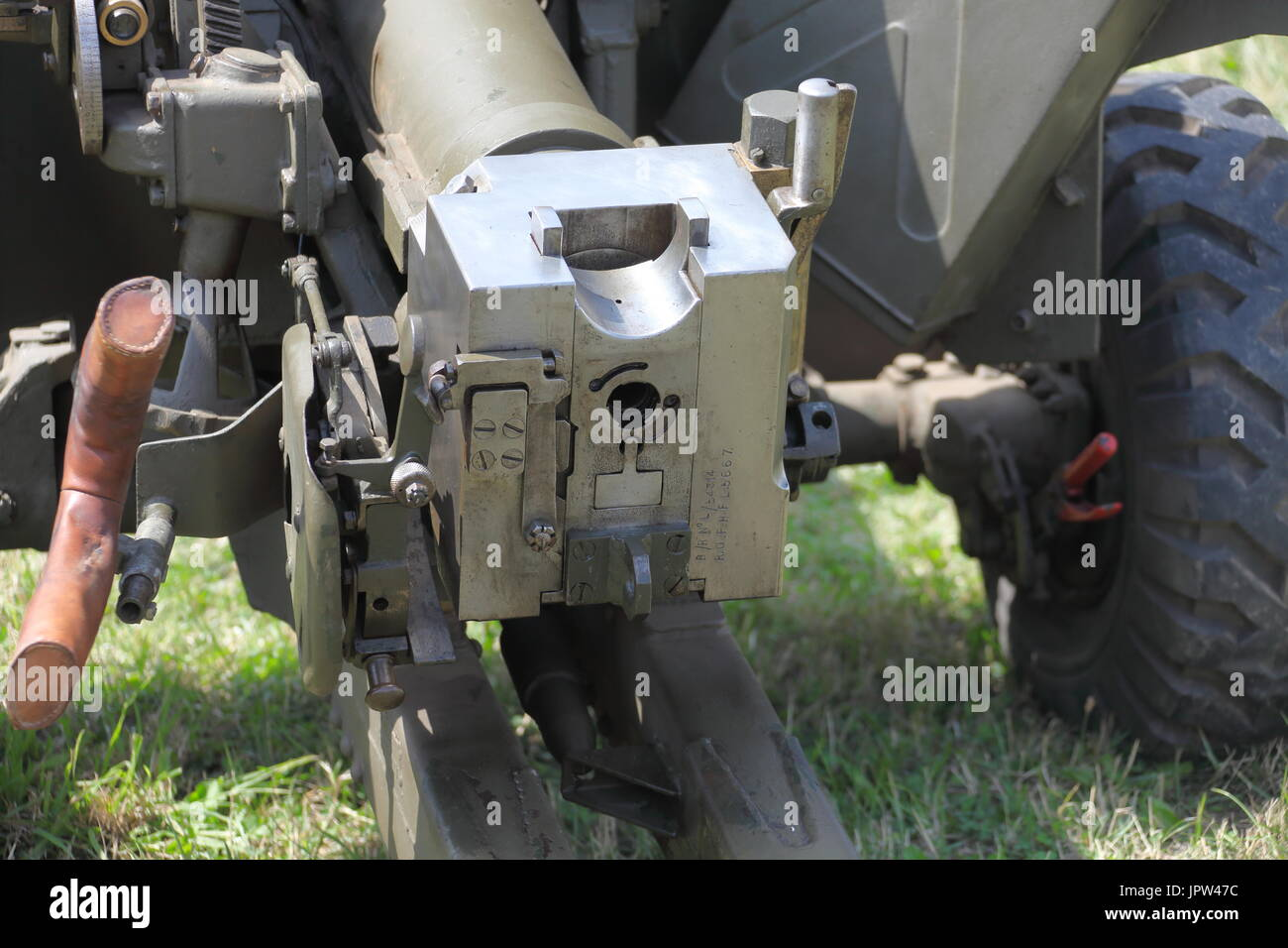The breech end view of a 17 pounder wartime anti tank gun restored by a private owner and on display at Beltring 2017 War and Peace show in Kent. - Stock Image