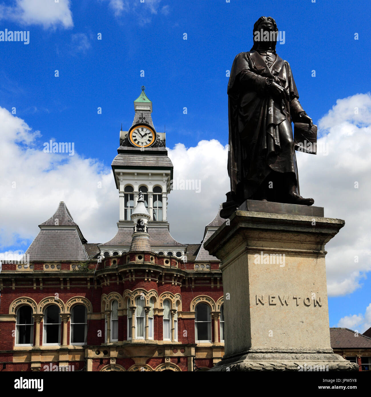 Statue of Sir Issac Newton and the Guildhall, Town hall of Grantham, Lincolnshire, England, UK Stock Photo