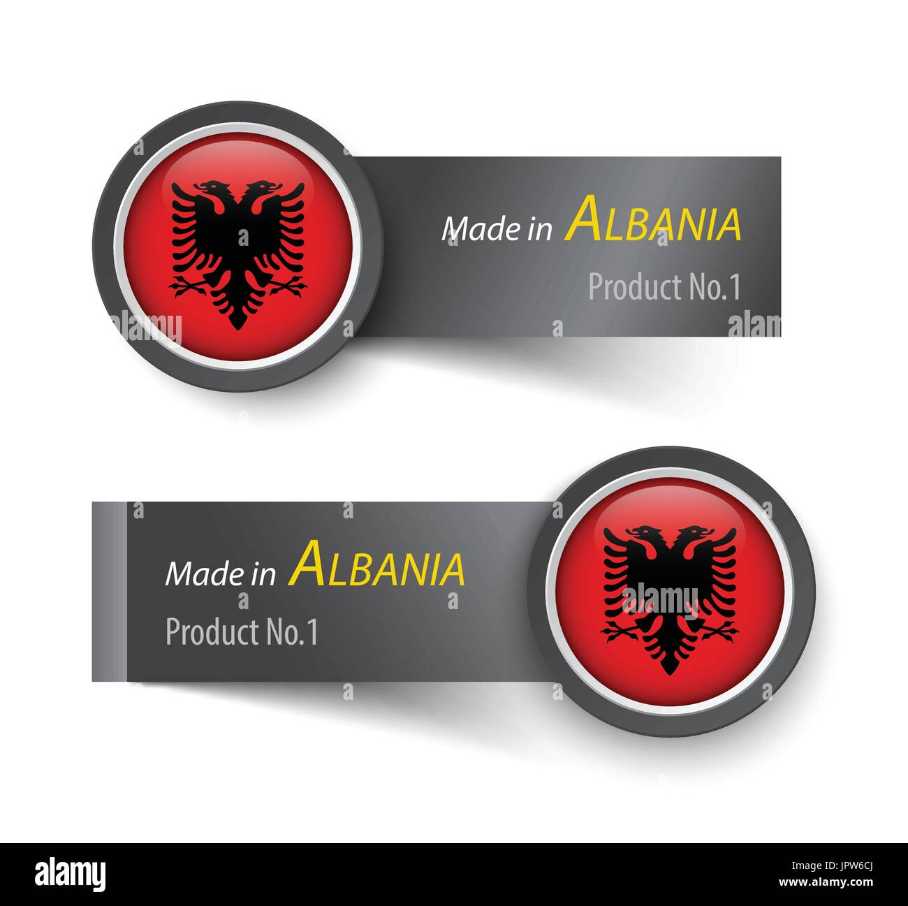 Flag icon and label with text made in Albania . - Stock Image