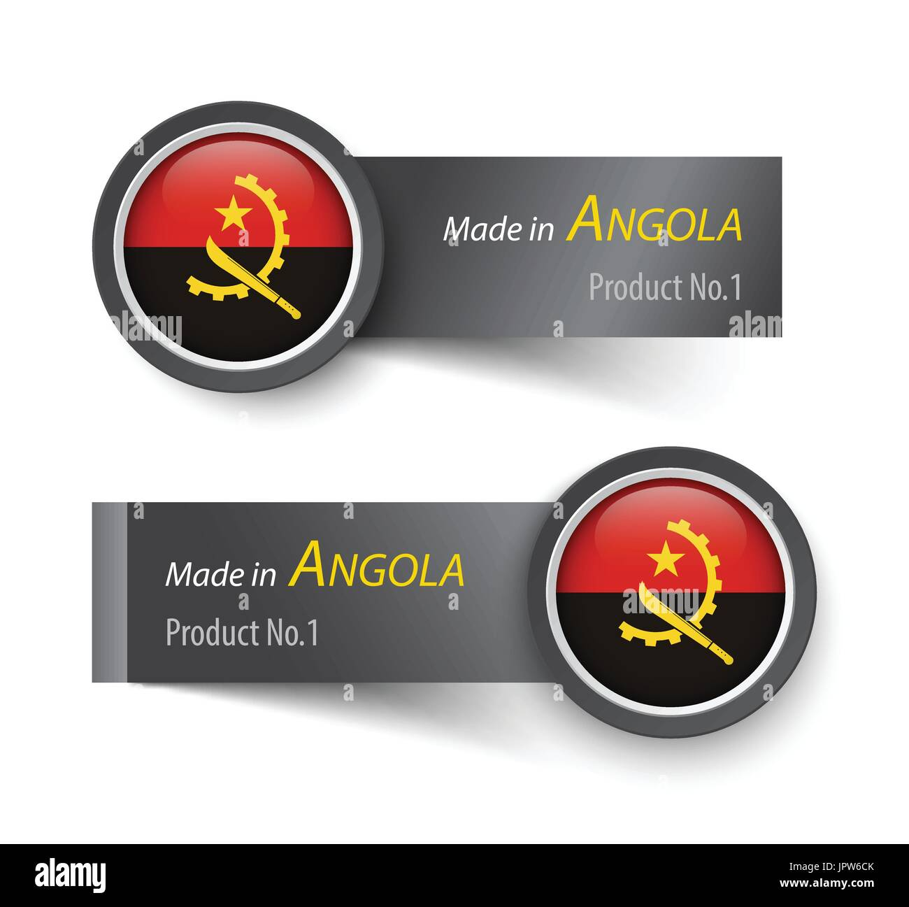 Flag icon and label with text made in Angola . - Stock Vector